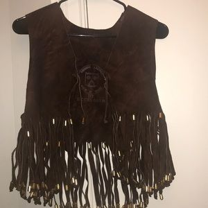 Vintage Genuine leather tassel vest with beads